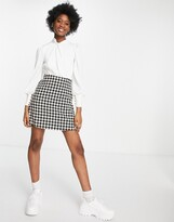 Thumbnail for your product : Little Mistress 2-in-1 check boucle skirt mini dress in monochrome