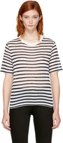 Alexander Wang Navy & Ivory Striped Cropped T-Shirt