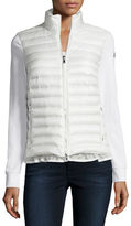 Moncler Cardigan-Style Puffer with Ruffle Hem