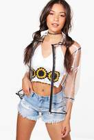 boohoo Brooke Clear Rain Mac Biker Jacket