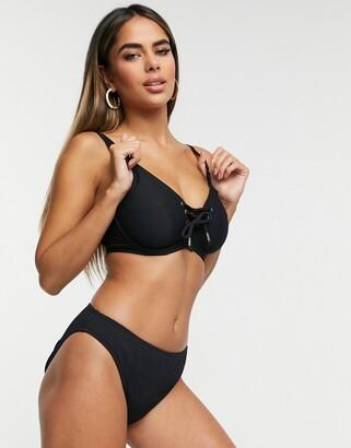 Pour Moi? Pour Moi Fuller Bust Sol Beach high leg rib bikini bottom in black