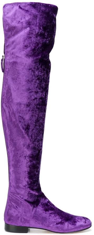 01c355e28d7e2 Purple Velvet Boots - ShopStyle