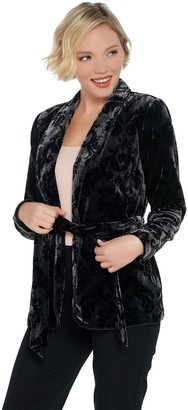 G.I.L.I. Got It Love It G.I.L.I. Printed Velvet Jacket with Waist Tie Detail