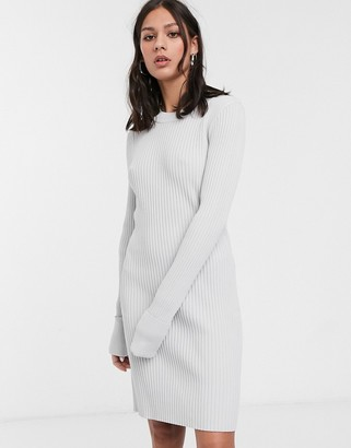 Weekday ribbed high-neck maxi dress in off white