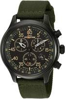 Timex Men's Expedition TW4B103009J Analog Chronograph Blue Dial and Brown Leather Strap
