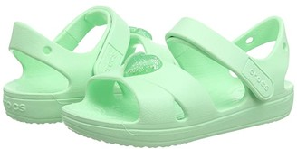Crocs Classic Cross Strap Sandal (Toddler/Little Kid) (Neo Mint) Girl's Shoes