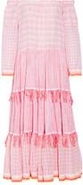 Lemlem Anan Off-the-shoulder Striped Cotton-blend Gauze Midi Dress - Pastel pink