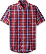 Arrow Men's Big-Tall Short Sleeve Sea Jack Seersucker Medium Plaid Shirt