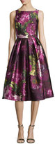 Carmen Marc Valvo Sleeveless Pleated Floral Cocktail Dress, Magenta
