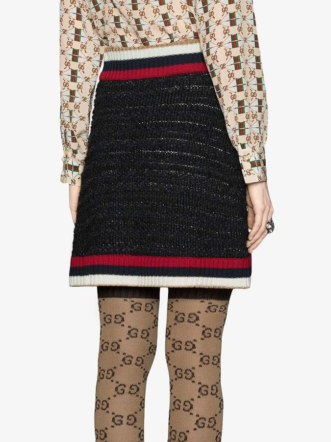 Gucci Knitted skirt with Web