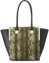 Neiman Marcus Wing-Side Faux-Leather Tote Bag, Gray Snake