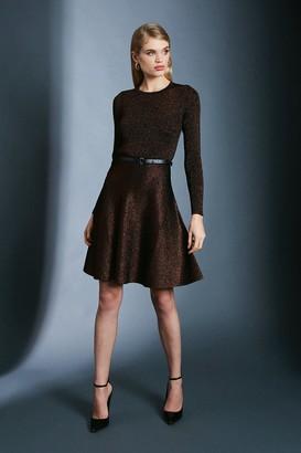 Karen Millen Sparkle Knit Rib Crew Neck Skater Dress