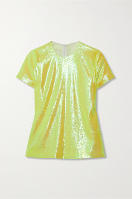 MM6 MAISON MARGIELA Neon Sequined Tulle Top - Chartreuse