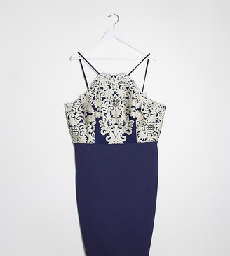 Chi Chi London Chi Chi Curve Ghiana midi pencil dress in navy with gold embroidery