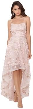 Xscape Evenings Floral-Appliques High-Low Gown