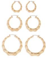 BP Women's 3-Pack Bamboo Hoop Earrings