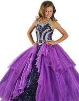 Jianda Big Girls' Halter Sequins Princess Kids Pageant Dresses US