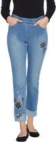 Denim & Co. Pull-On Floral Embroidered Cuffed Jeans