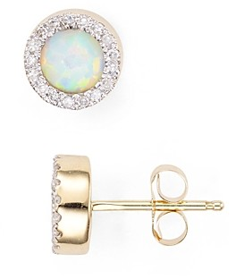 Adina Opal & Diamond Disc Stud Earrings