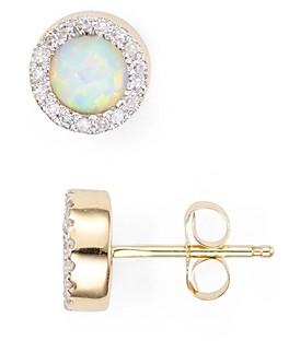 Adina Reyter Opal & Diamond Disc Stud Earrings