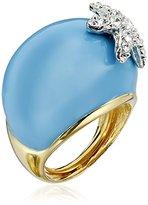 Kenneth Jay Lane Turquoise and Rhinestone Starfish Adjustable Ring, Size 5-7