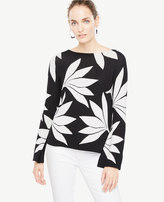 Ann Taylor Fan Floral Bell Sleeve Sweater