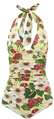 Dolce & Gabbana Halterneck Ruched Rose-print Swimsuit - Yellow Print