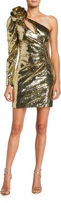 Dundas One-Sleeve Sequined Mini Dress