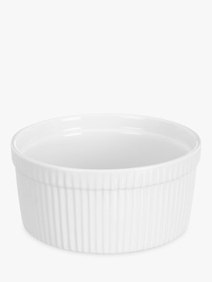 John Lewis & Partners Porcelain Round Souffle Oven Dish, 17.5cm, White