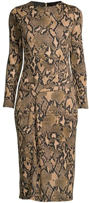 Donna Karan Python-Print Jersey Knit Dress