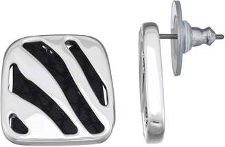 Dana Buchman Zebra Stripe Inset Faux Leather Stud Earrings