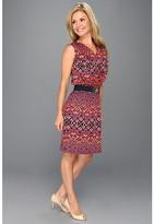 Anne Klein Petite Petite Ikat Print V-Neck Dress