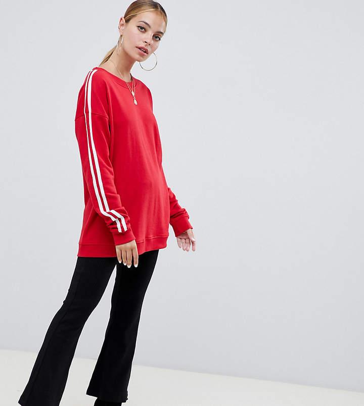 Missguided Petite contrast sleeve sweatshirt in red