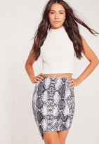 Missguided Snake Print Scuba Asymmetric Skirt Grey
