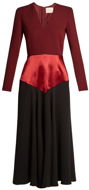 Roksanda Hayato V Neck Tri Colour Dress - Womens - Burgundy Multi