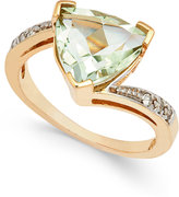 Macy's Green Quartz (3-1/4 ct. t.w.) and Diamond Accent Ring in 14k Gold