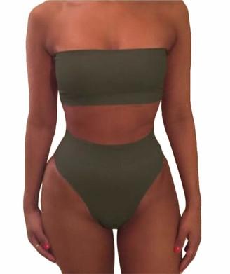 MU2M Women Bandeau Top Strapless Wrap Pad Cheeky High Waist Bikini Set One US L