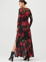 Very Mesh Long Sleeve Maxi Dress - Floral
