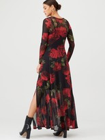 Very Mesh Long Sleeve Maxi Dress - Floral