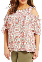 Gibson & Latimer Plus Floral Tribal Cold-Shoulder Keyhole Blouse