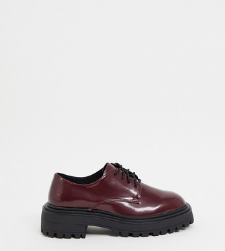 ASOS DESIGN Wide Fit Money chunky lace up flat shoes in oxblood