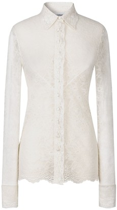 Paco Rabanne Ivory Lace Shirt Blouse