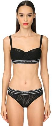 Dolce & Gabbana Logo Band Lace Balconette Bra
