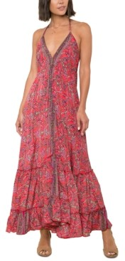 Raga Printed Open-Back Maxi Dress