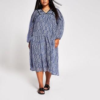 River Island Plus blue tile print smock dress