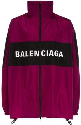 Balenciaga burgundy logo track jacket