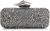 Jimmy Choo CLOUD TUBE Anthracite Lace with Crystals and Pearls Clutch Bag with Knot Clasp