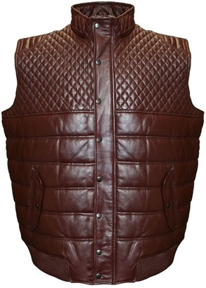 Big & Tall Franchise Club Geo Satin-Lined Quilted Lambskin Leather Vest