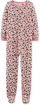 Carter's Carter Little & Big Girls 1-Pc. Leopard-Print Fleece Footie Pajamas