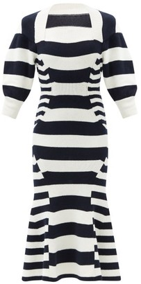 Alexander McQueen Square-neck Striped Wool-blend Sweater Dress - White Multi